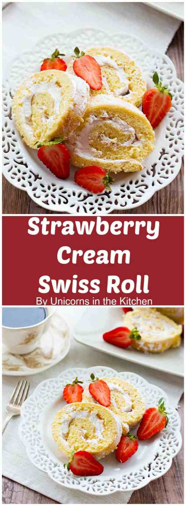 This strawberry cream swiss roll is the ultimate summer treat! It's airy, delicious, and full of whipped cream. Making a swiss roll at home is way easier than what you may think!