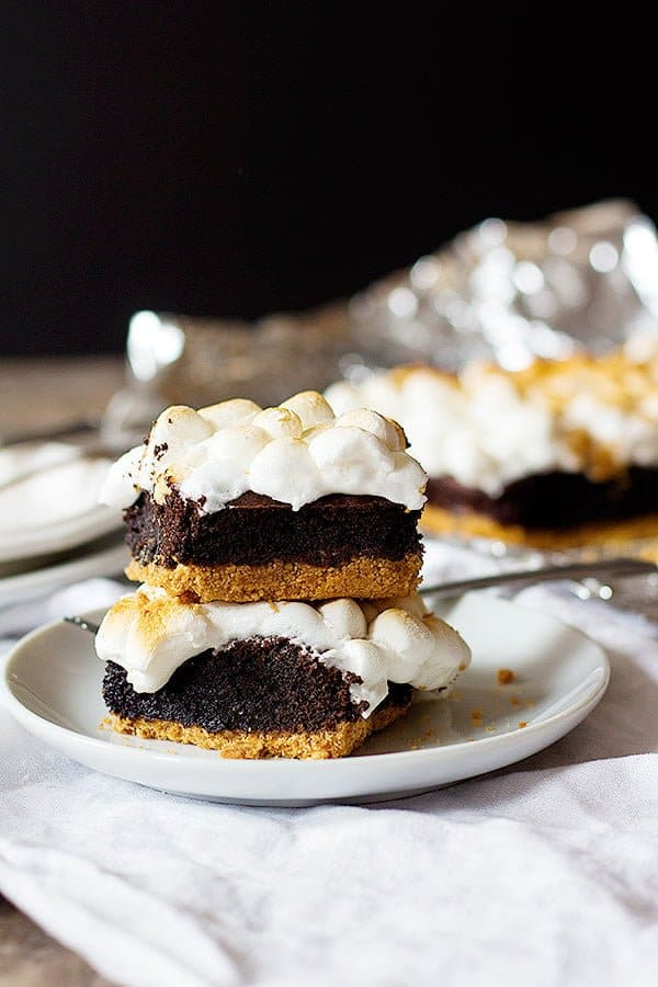 This s'mores brownie recipe is easy to follow and makes 9 slices of brownies.
