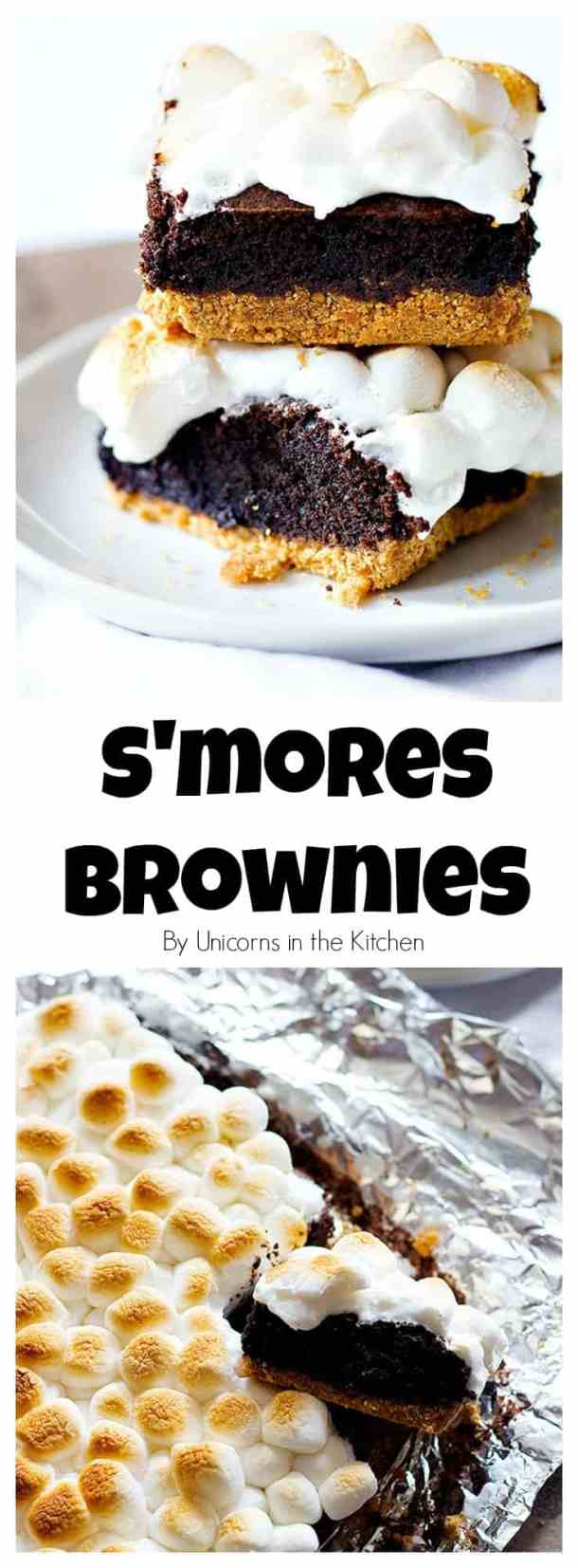 s'mores brownies | Marshmallow brownies | s'mores brownies recipe | Brownies with marshmallows | s'mores brownies easy | Unicornsinthekitchen.com #brownies #smoresbrownies #browniesrecipe #grahamcrackers #chocolate #smores #dessert #chocolatebrownies