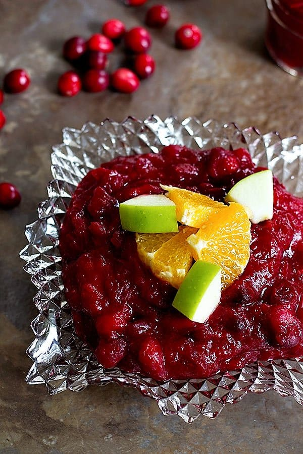 Serve cranberry apple sauce warm or at room temperature.