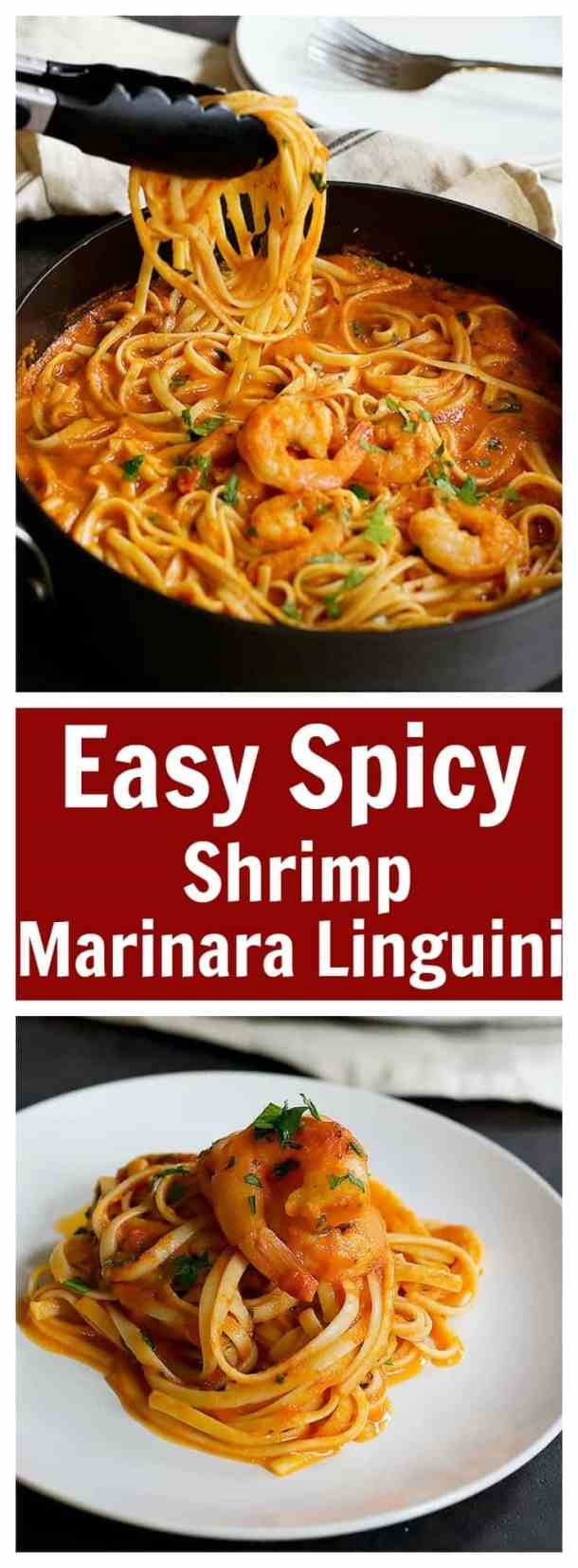 This Easy Spicy Shrimp Marinara Linguine will beon your table in less than 45 minutes and it tastes amazing! With the right amount of spiciness, this pasta will become everyone's favorite!