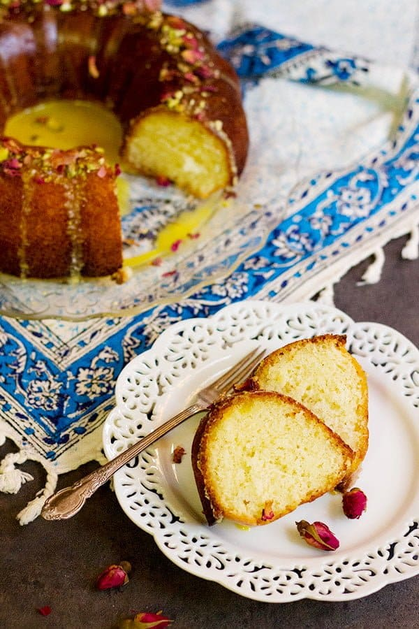 A slice of this Persian Cake is full of rose water and saffron. This is also called Persian Love Cake.
