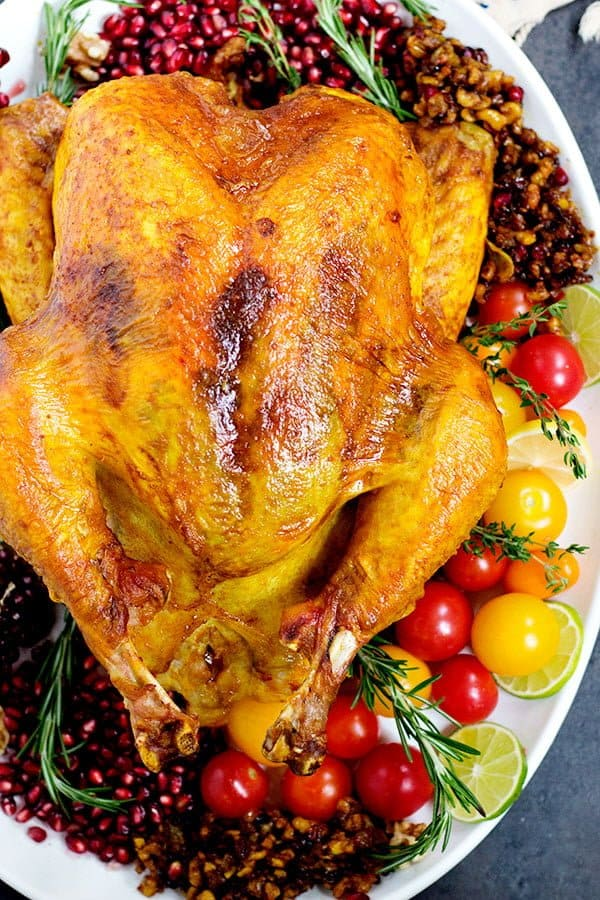 This spiced turkey is no brine and super easy. It has crispy skin and juicy meat.