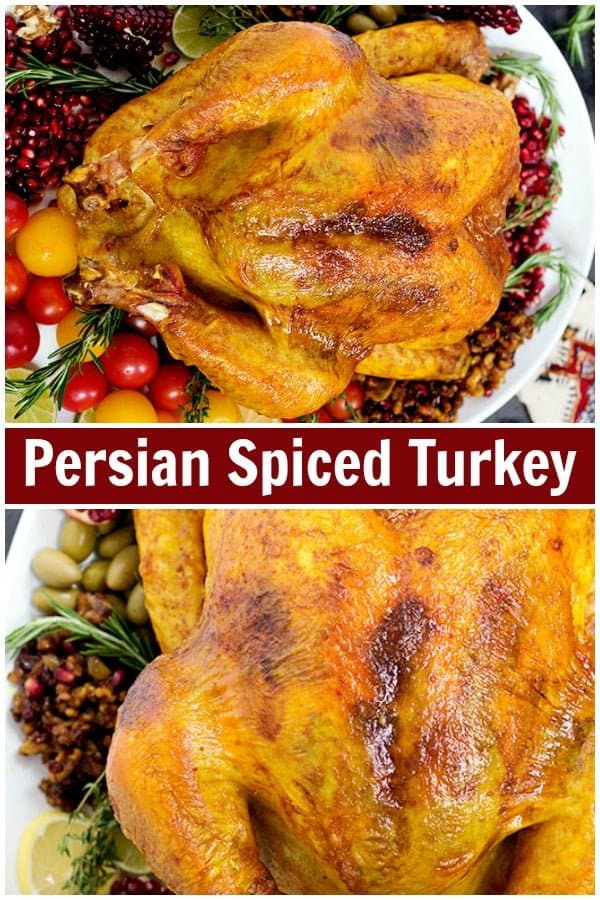 Bring a new twist to your Thanksgiving table by making this delicious no-brine Persian Spiced Turkey. It's juicy, tasty and filled with aromatic spices that will take your Thanksgiving dinner to a whole new world! #thanksgiving #turkey #turkeyrecipe #easyturkey #thanksgivingturkey
