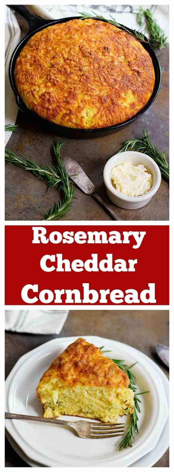 This Rosemary Cheddar Cornbread is moist and full of delicious flavors. It's packed with aromatic rosemary baked in a cast iron skillet and has a beautiful crispy crust.