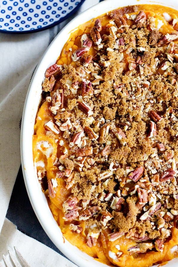 sweet potato casserole with pecans is the perfect Thanksgiving side dish.