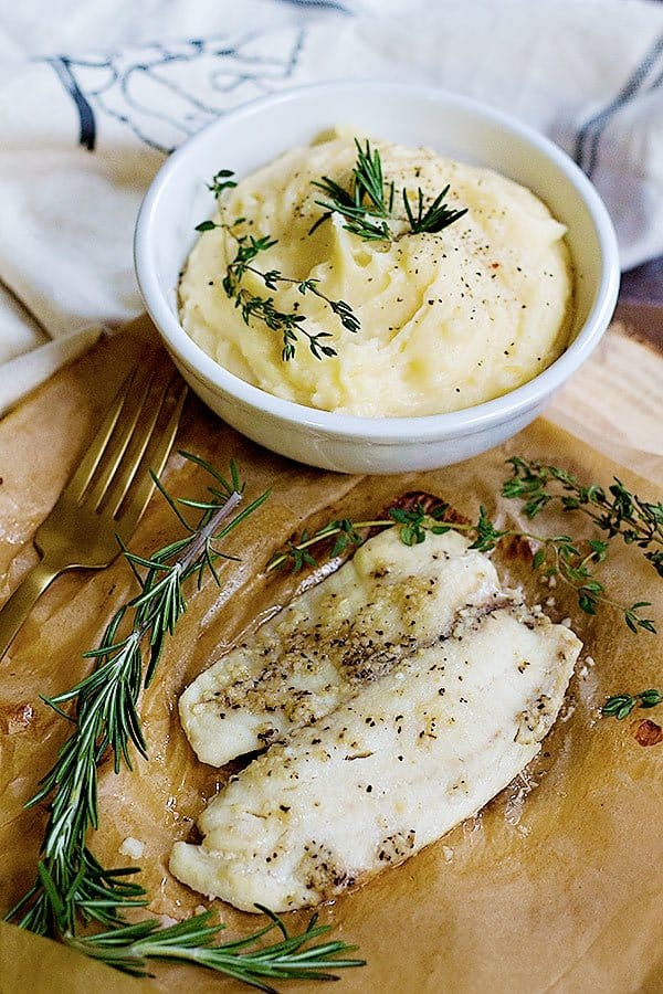 Triple cheese mashed potatoes is the ultimate comfort food! The name says it all: three different types of cheese! Pair it with some delicious tilapia and you have a whole meal in no time.