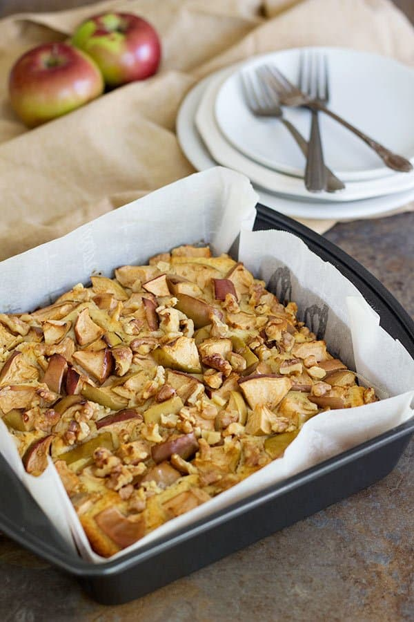 These Apple Walnut Cake Bars are great for paring with an afternoon tea. The fluffy texture and crunchy walnuts are perfect together!