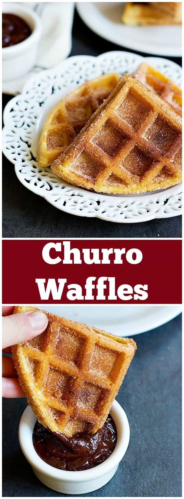 Start you mornings with a dessert-flavored breakfast. Churro Waffles are delicious fluffy waffles full of cinnamon sugar, served with some delicious chocolate!