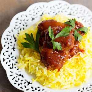 Eggplant Sumac Meatballs with Saffron Rice