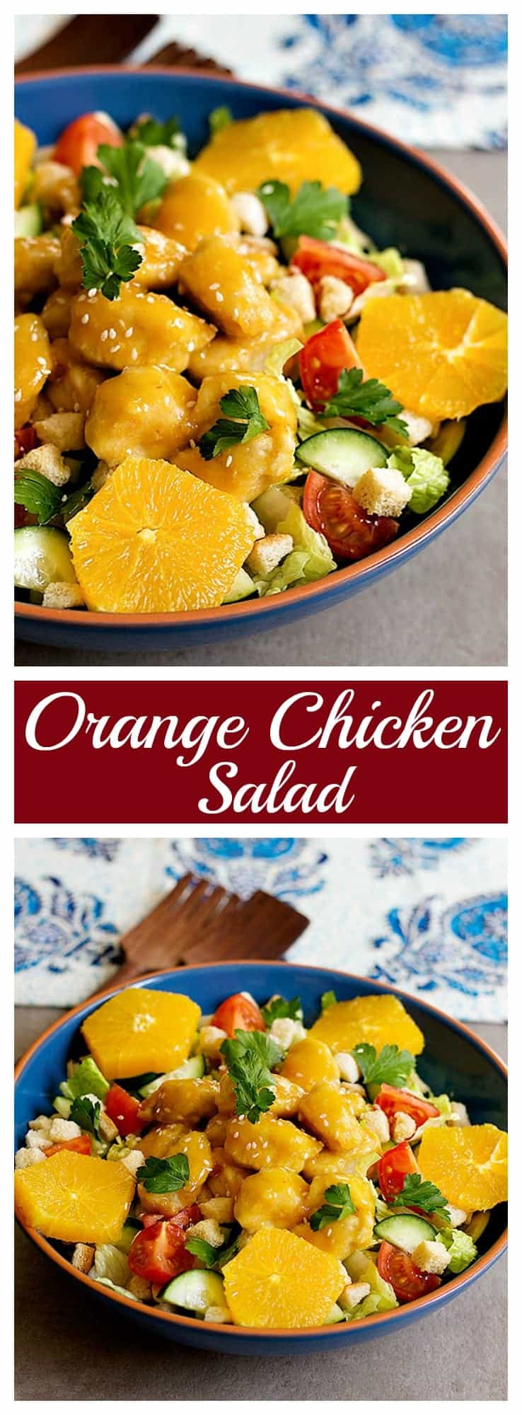 Bring excitement and flavor to ordinary dinners with this delicious orange chicken salad. Fresh salad topped with chicken smothered in lip-smacking orange sauce!