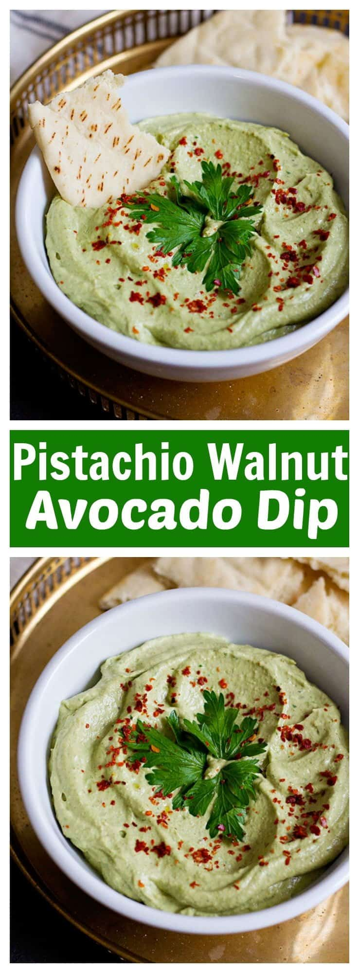 Pistachio Walnut Avocado Dip is perfect for gatherings, or just as an afternoon snack. It's packed with nuts and nutrients. Amazingly delicious!