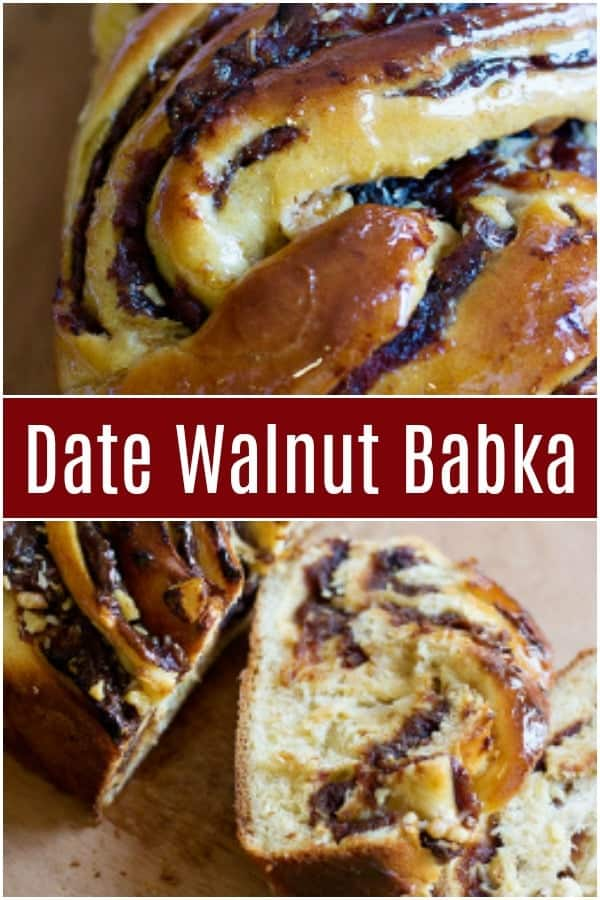 This classic babka recipe is getting a delicious twist. Soft dough filled with sweet dates and crunchy walnuts makes a this a mouth-watering treat. #babka #babkarecipe #easybabka #breadrecipe #easybread