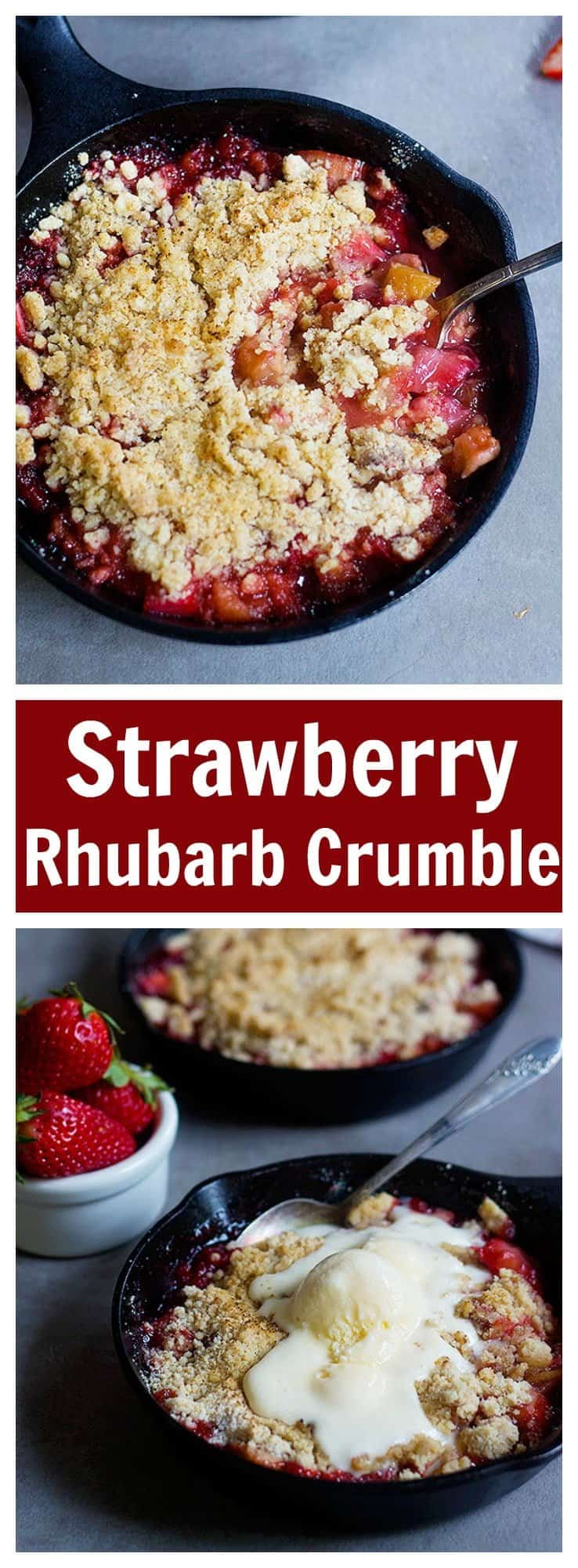 Strawberry Rhubarb Crumble is the ultimate spring dessert. Juicy strawberries and rhubarbs mixed with sugar and topped with a good crumble make this dessert delicious!