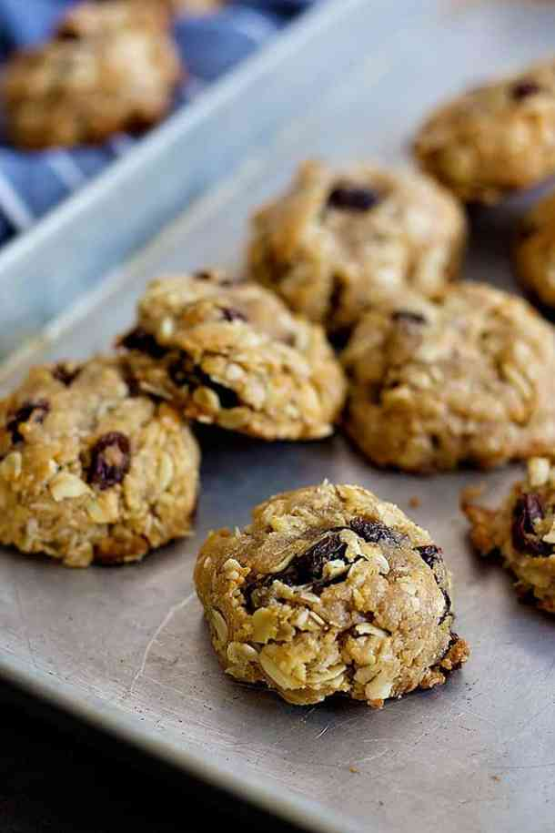 A match made in heaven, thesePeanut Butter Oatmeal Raisin Cookies are perfect with a glass of milk! They are chewy, plump and very tasty!