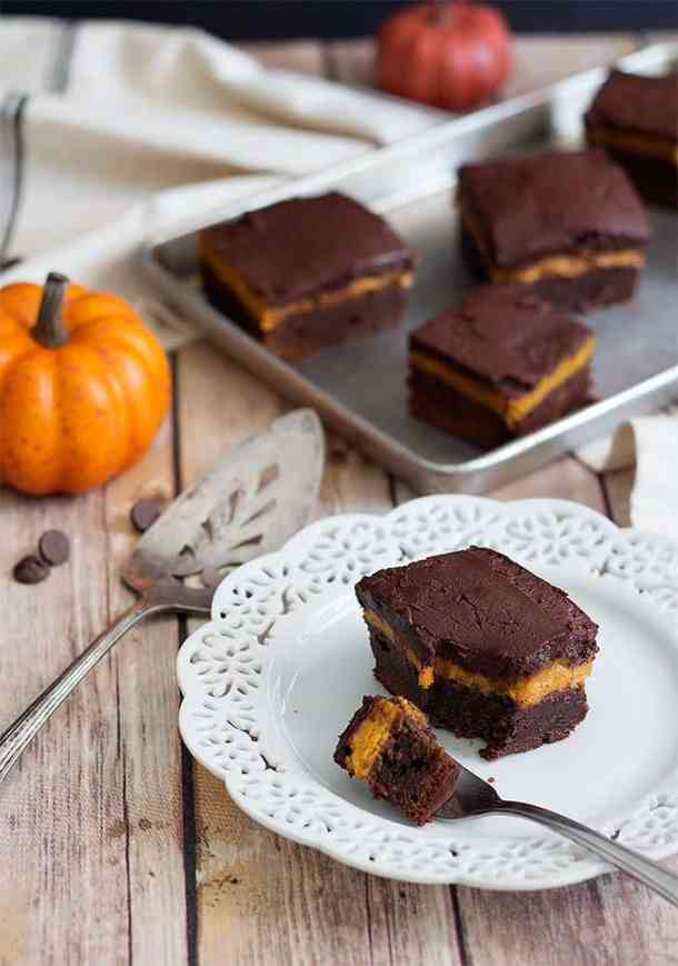 These pumpkin brownies with a pumpkin pie filling are perfect for fall baking!