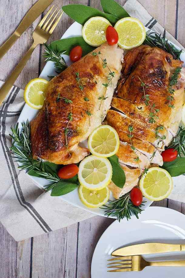 This oven roasted turkey breast recipe is easy and great for Thanksgiving.