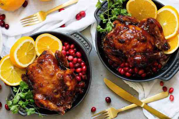 cornish chicken recipe is made with an orange cranberry glaze