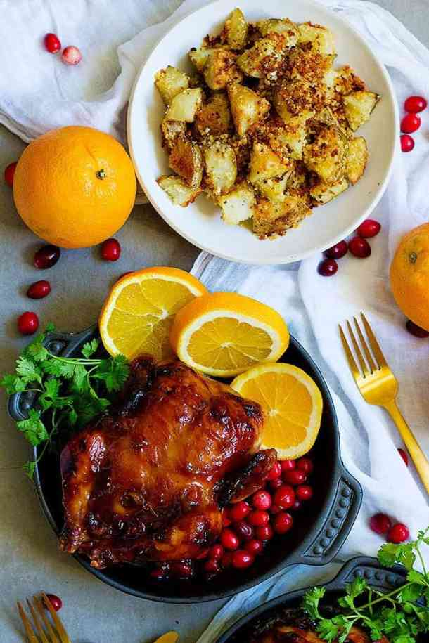 Glazed Cornish Hens with Panko Crusted potatoes
