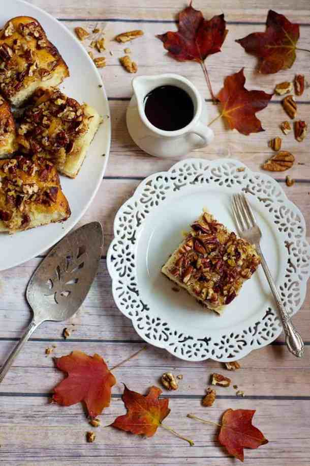 Pecan Pie Cake Recipe | Pecan Cake | Maple Pecan Cake | From unicornsinthekitchen.com