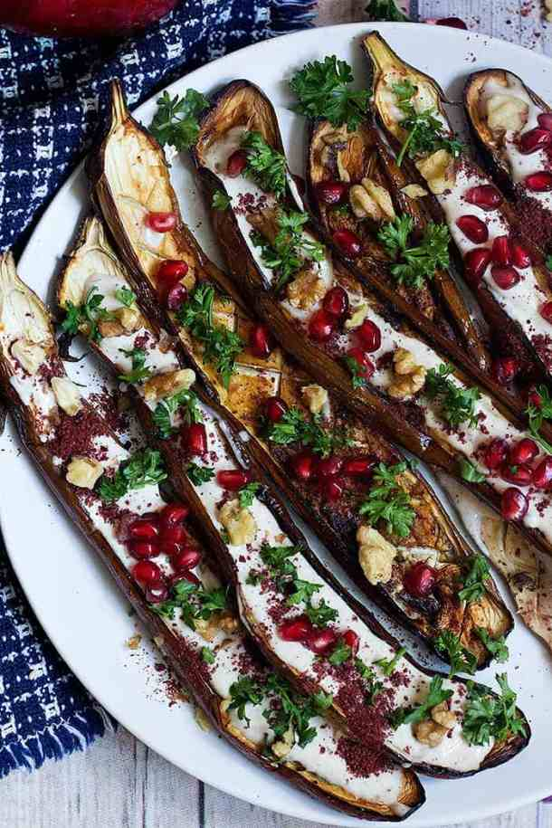 Roasted Eggplant with Tahini, yogurt and pomegranates.