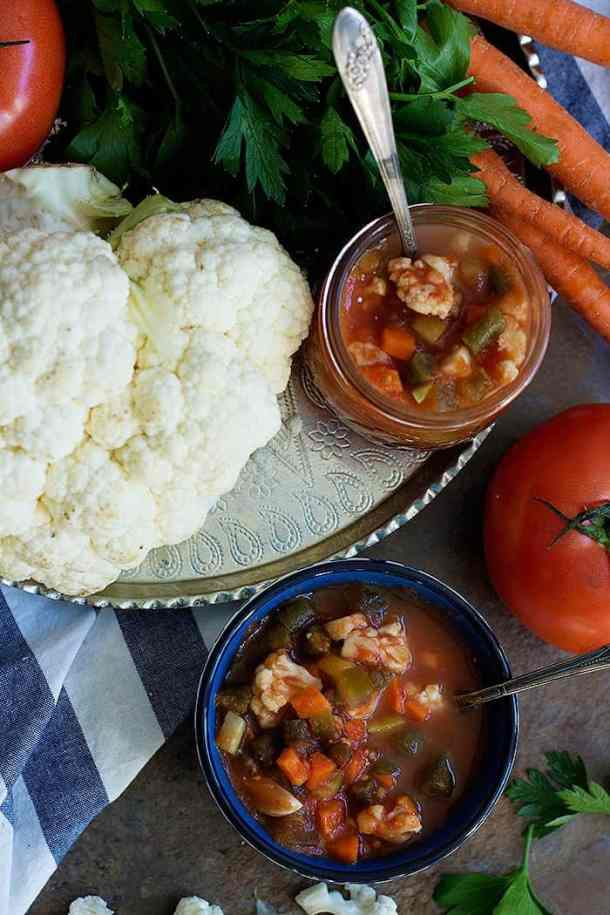 Persian Pickles or torshi ingredients, cauliflower, tomatoes and carrots