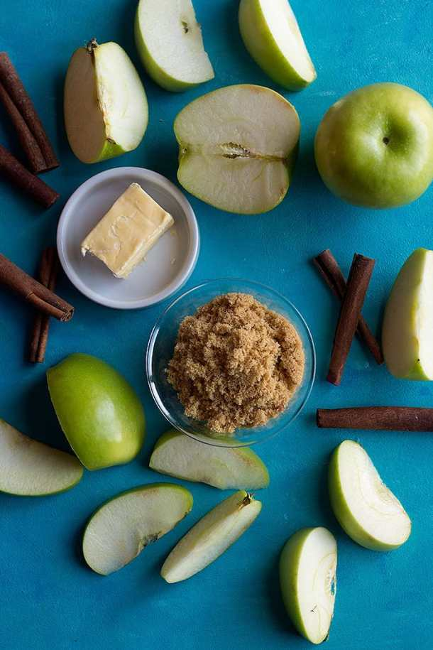 And to make the apple pie fillingwe use apples, butter, cinnamon and brown sugar.