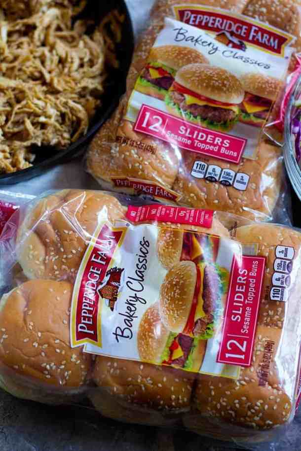 Chicken Sliders - Open the bags of sliders and separate the top of the buns from the bottoms.