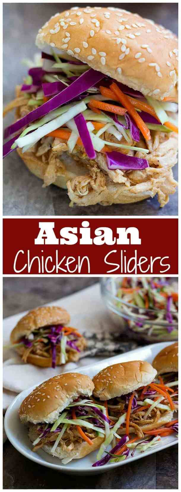 These Asian Chicken Sliders are to die for! Shredded chicken mixed with Asian flavors and a delicious slaw, these chicken sliders are perfect for feeding a crowd! #chickensliders #chickensandwich #sliderrecipe