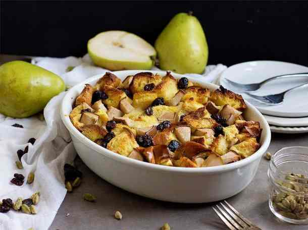 Challah bread pudding with raisins and pears, a great dish for weekend brunch with family.