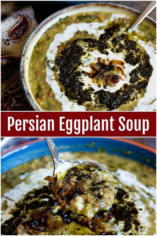 Filled with nutrient ingredients and great flavors, this Persian Eggplant Soup - Ash-e Bademjan is a delicious choice for cold days. This vegetarian and gluten free soup is super tasty!