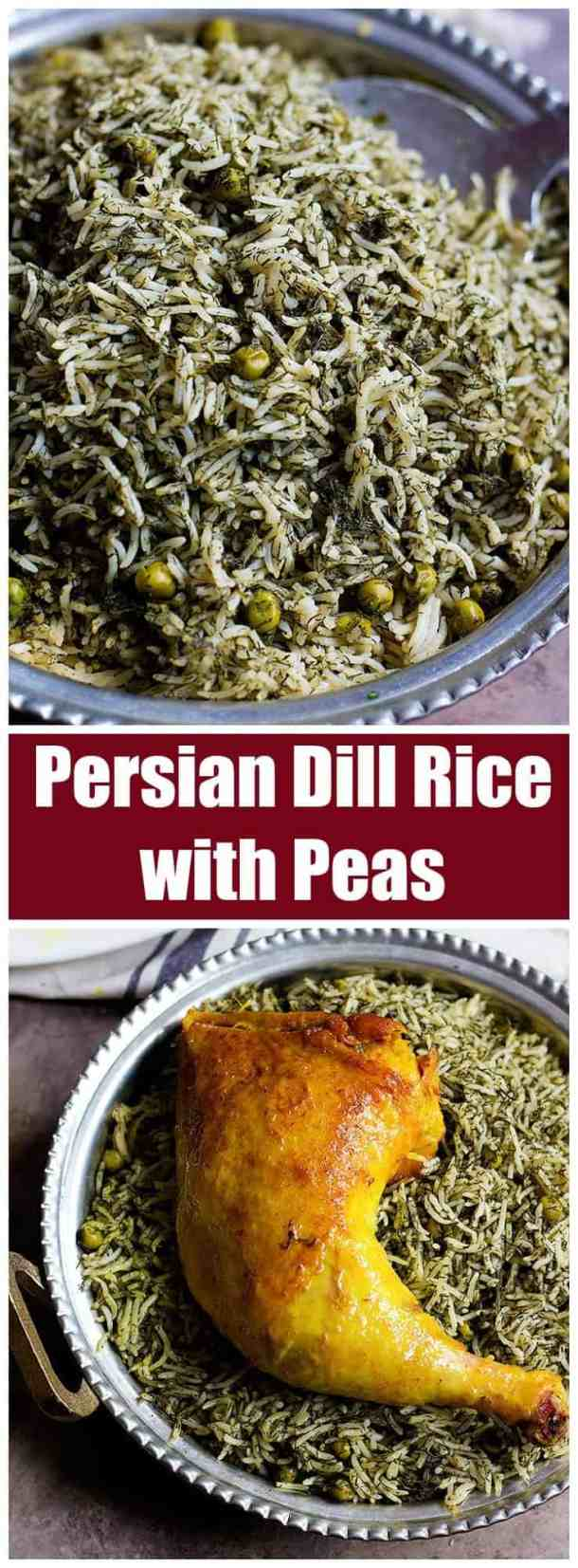 Persian Dill Rice with Peas | Dill Rice | Rice and Peas | Persian Recipes | Persian Cuisine | Persian Dishes | Rice Recipes | Green Rice | Middle Eastern Rice | Mediterranean Rice | Herb Rice | One Pot Rice | UnicornsintheKitchen.com