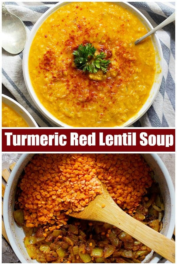 This Turmeric Ginger Red Lentil Soup will warm you up on cool fall days. The combination of turmeric and ginger brings a nice heat and flavor while keeping it light with the red lentils.  #redlentilsoup #souprecipe #redlentils #fallrecipes #easysoup