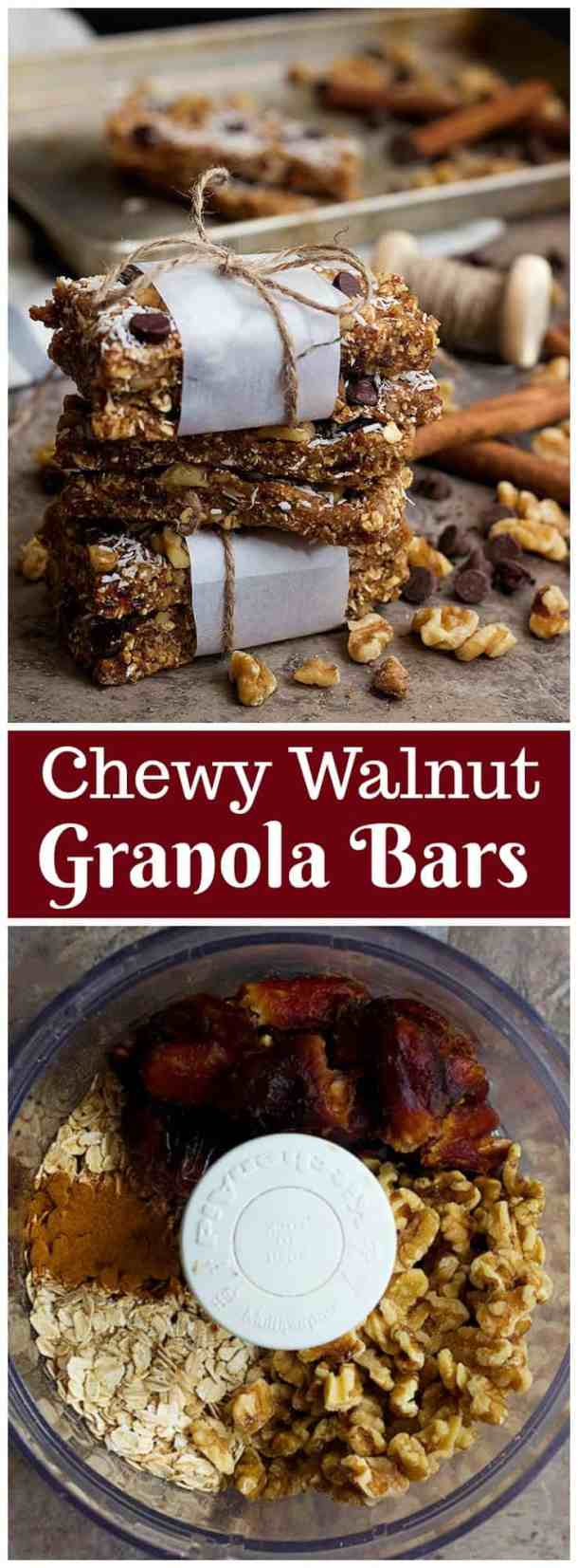 This Chewy Granola Bars Recipe is so easy and simple to make. It has a handful of ingredients, is naturally sweetened with dates and has a crunchy texture thanks to walnuts.