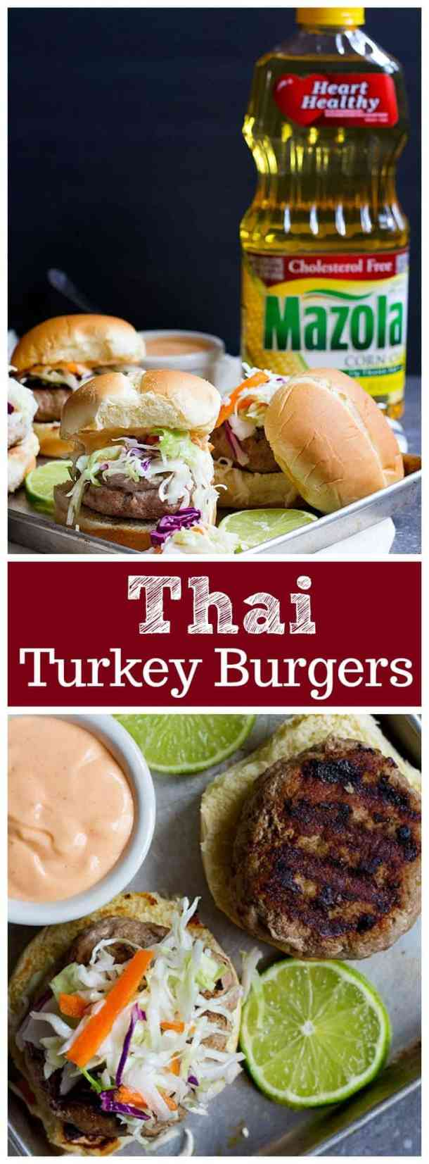 Thai Turkey Burgers |  Turkey Burger |  Asian Burger | Asian Slaw | Thai Sandwich | Thai Burger | Thai Burger Recipe | Easy Asian Recipe | Healthy Burger Recipe | Turkey Burger on the Stove | UnicornsintheKitchen.com #ad #  #SimpleSwap