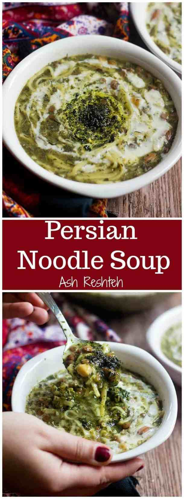 Ash Reshteh | Persian Noodle Soup | Persian Herb and Noodle Soup | Legume Soup | Persian Recipes | Persian Cuisine | Middle Eastern Recipes | Mediterranean recipes | One pot Recipes | UnicornsintheKitchen.com