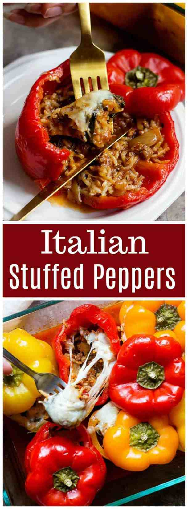 These Italian stuffed peppers are the ultimate family dinner. They're made with rice, mushrooms and spinach and taste great! #stuffedpeppers #dinnerrecipes #italianrecipes #italianpeppers #easydinner #healthyrecipes #easyrecipes