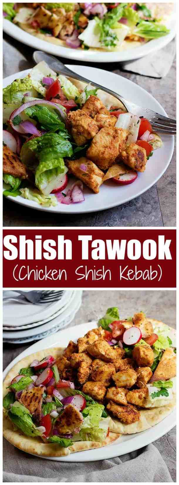 Shish Tawook is a Lebanese chicken kebab that's usually served as a sandwich with some salad. Tender chicken marinated in yogurt, lemon and garlic makes one delicious meal for the family. | Shish Tawook | Shish Taouk | Shish Tawook Recipe | Lebanese Chicken Recipe | Chicken Shish |  Chicken Shish Recipe | Homemade Chicken Kebab | Shish Tawook Marinade | Shish Tawook Recipe Lebanese Chicken | Shish Tawook Sandwich | Middle Eastern recipes | Mediterranean Recipes | UnicornsintheKitchen.com