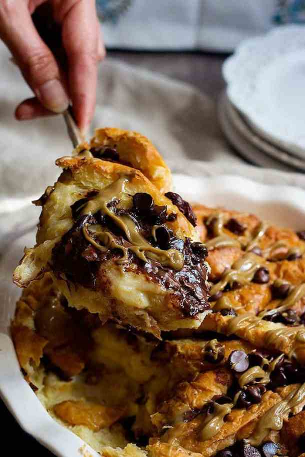 croissant bread pudding is perfect for breakfast or brunch.