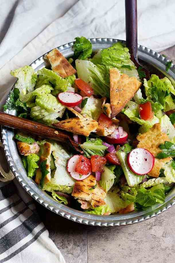 Fattoush recipe is a simple Middle Eastern chopped salad recipe that's perfect for any meal. This Lebanese salad is easy to uses seasonal fresh ingredients