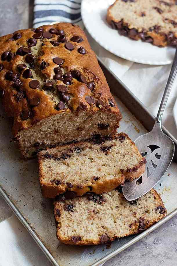 This banana chocolate chip bread recipe is perfect for breakfast