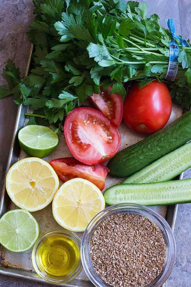 For tabbouleh recipe you need tomatoes, cucumbers, bulgur, parsley, olive oil, lemon and lime.