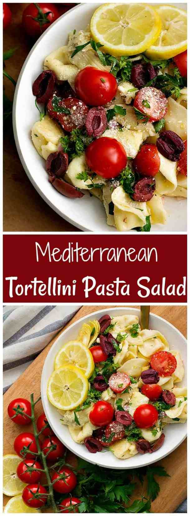 This tortellini pasta salad with a Mediterranean twist is the perfect side dish for any potluck. Make this easy tortellini salad with just a few ingredients and in no time! #pastasalad #saladrecipes #tortellinipastasalad #saladrecipes #mediterraneancuisine