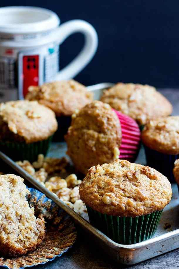 These moist banana bread muffins are easy to make and you can store them for up to five days.