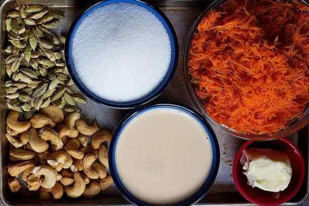 for gajar halwa recipe you need carrots, sugar, milk, cardamom, ghee and cashews.