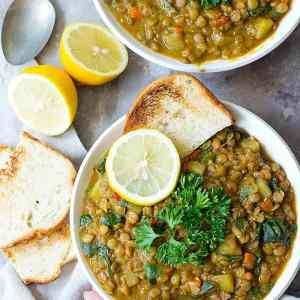 Easy Mediterranean Green Lentil Soup