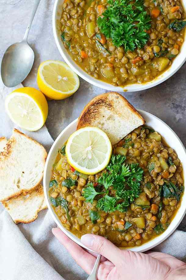 This Mediterranean lentil soup is great with lemon and toasted bread.