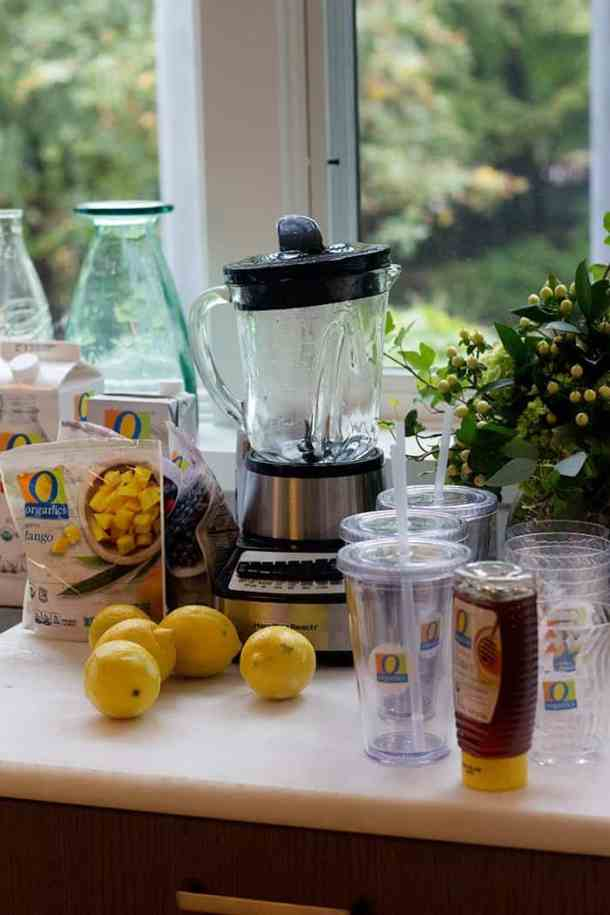 A delicious smoothie station with O Organics frozen fruit.