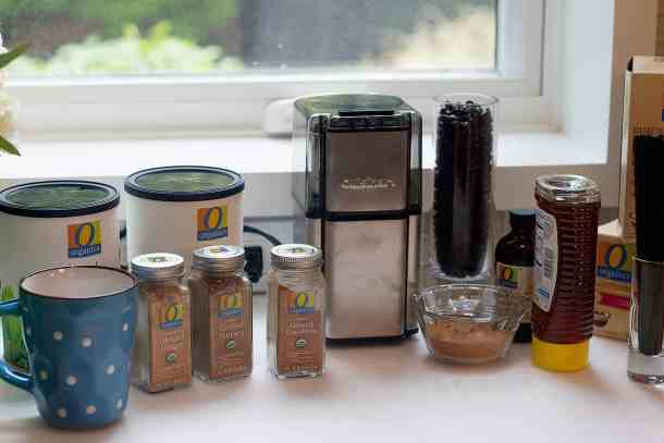 O Organics coffee station with different spices.