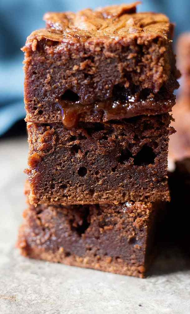 This caramel brownie recipe is easy and makes fudgy brownies.